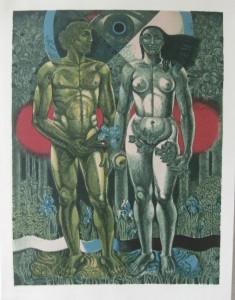 SKH Adam und Eva 1983 Zinkografie 44 x 58 cm