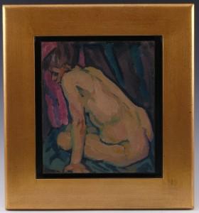Zank-Gericke - Sitzende Frau vor rotem Hintergrund WVZ 443 - 01