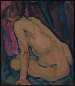 Zank-Gericke - Sitzende Frau vor rotem Hintergrund WVZ 443 - 02