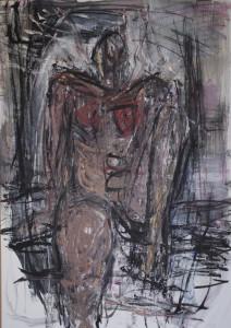 Christa Panzner, Akt sitzend, 98x67, Acryl